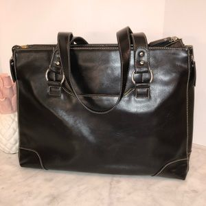 Franklin Covey black leather briefcase laptop bag.